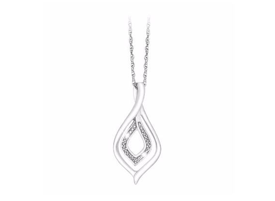 Sterling Silver & 0.03ct Diamond Twist Pendant